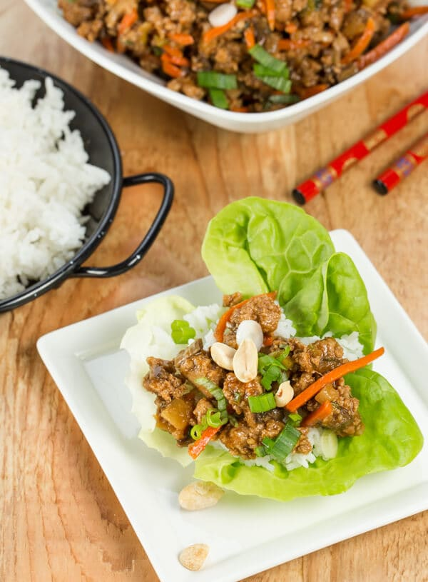 lettuce cup filled with chicken.