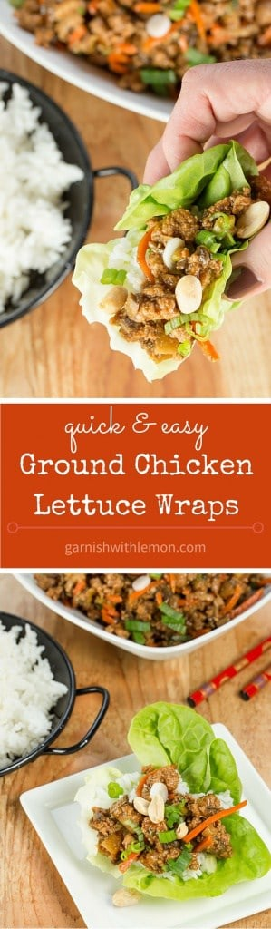 Need an easy and healthy weeknight meal? These Ground Chicken Lettuce Wraps are super flavorful and come together quickly. Leftovers reheat well, too!