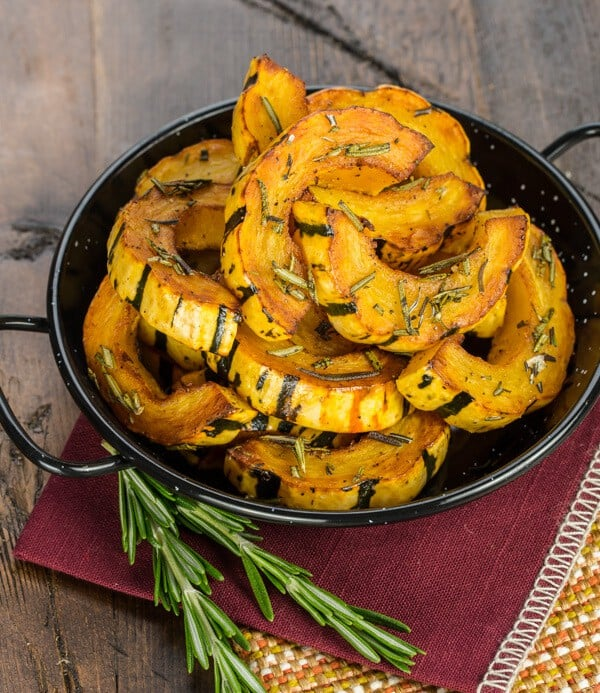 The skin of delicata squash is easily cut with a knife, which means this sweet & savory Rosemary Roasted Delicata Squash can be on your table in less than 25 minutes!