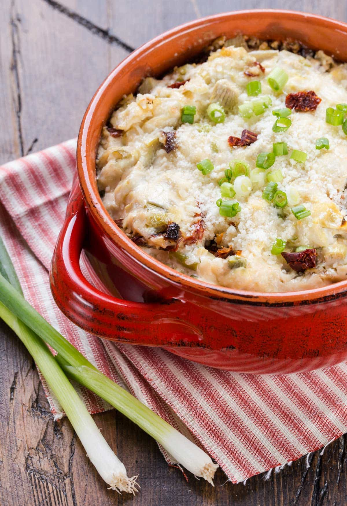 An updated, lighter version of artichoke dip. This Asiago Dip recipe is definitely one that needs to be added to your files! Everyone loves it!