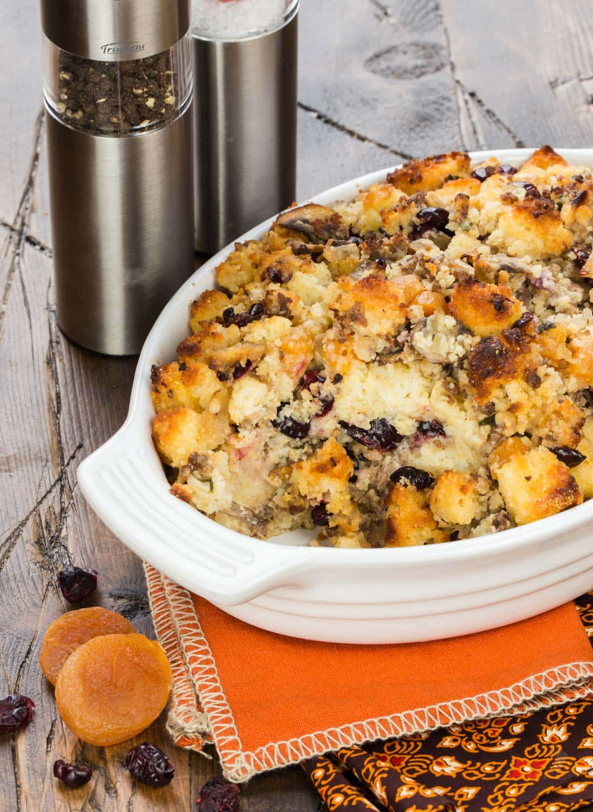 Put a twist on your usual Thanksgiving side with this savory Cornbread Stuffing with Sausage and Dried Fruit.