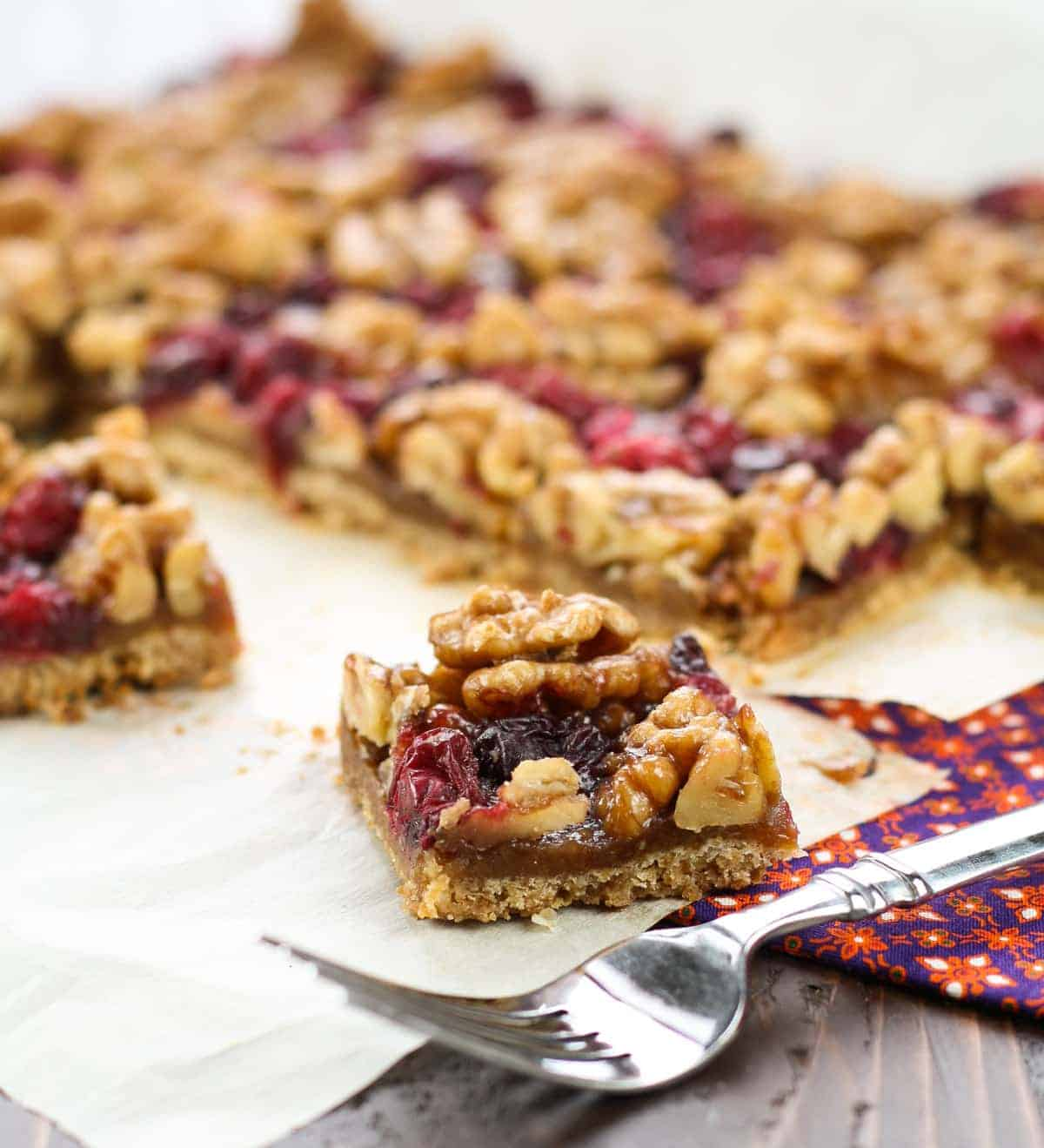 Need a holiday dessert for friends & family? These Cranberry Walnut Bars are sinfully rich but super easy to pull together. They make great holiday gifts, too!