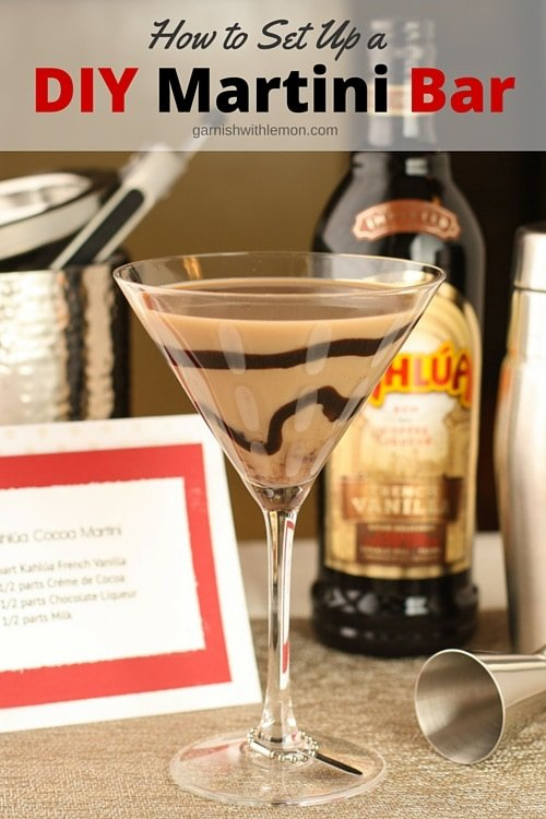 Follow these tips for how to set up a DIY Martini Bar at your next party & spend time with your guests, not tending bar!