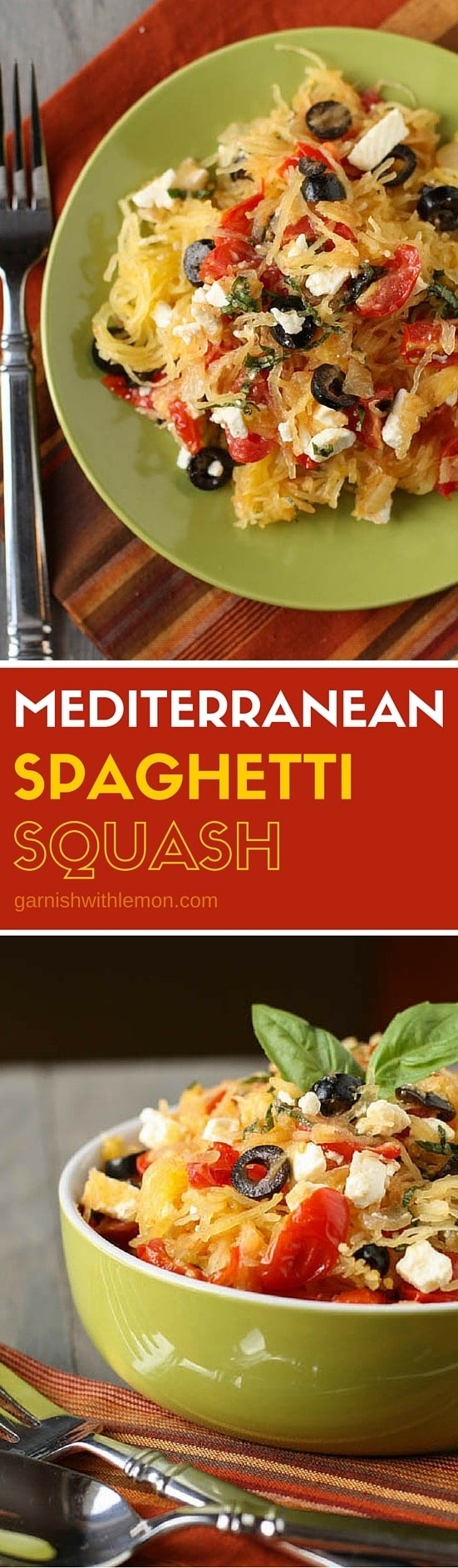 Looking for Meatless Monday dinner recipes? This baked Mediterranean Spaghetti Squash is so fresh and filling you won't even miss the meat!
