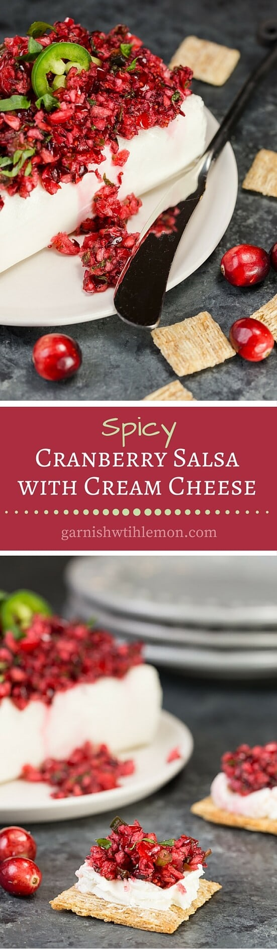 collage image of easy Spicy Cranberry Salsa