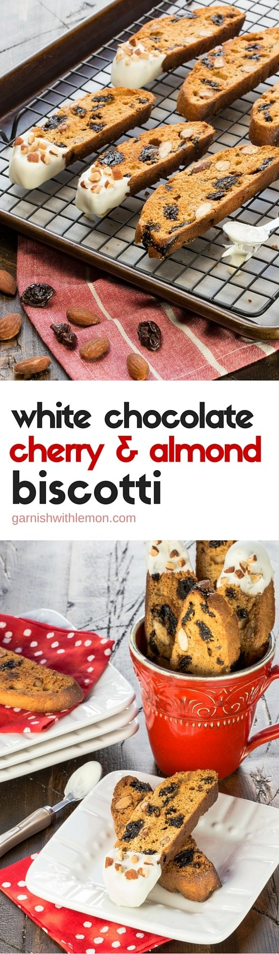 These simple White Chocolate, Cherry and Almond Biscotti make fantastic homemade food gifts during the holidays.