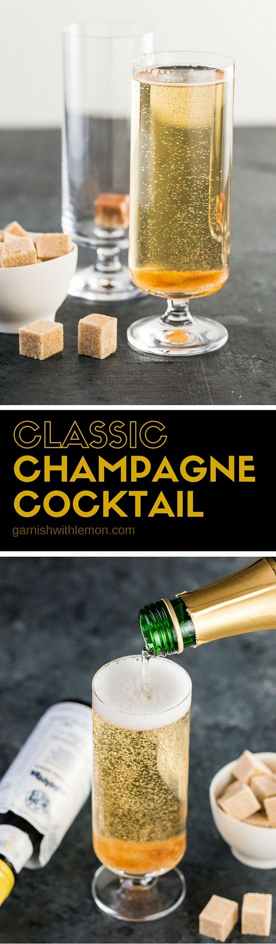 Two images of a Classic Champagne Cocktail