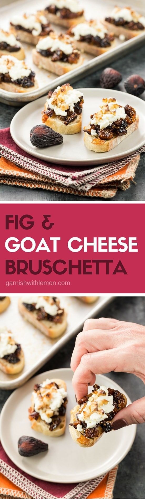 Fancy up your appetizer spread with sweet dried figs & creamy goat cheese. These easy but elegant Fig & Goat Cheese Bruschetta are sure to impress your guests.