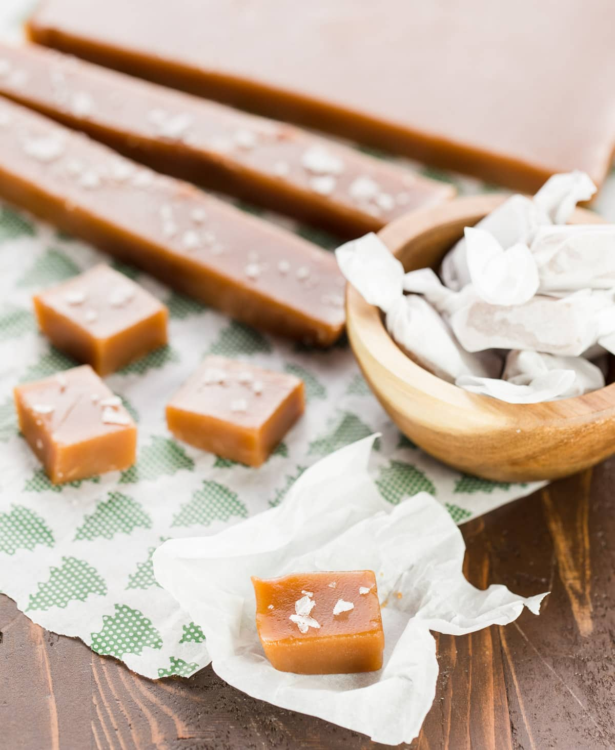 caramels on parchment paper.