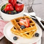 Light and fluffy, this Buttermilk Ricotta Waffle Recipe is the way to anyone's heart!