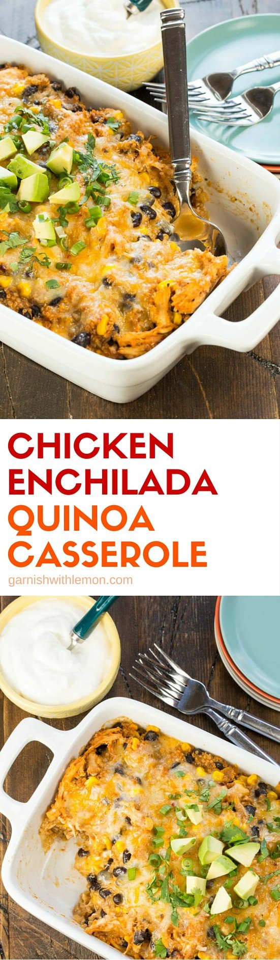 Looking for a protein-rich dinner recipe the whole family will love? This crazy yummy Chicken Enchilada Quinoa Casserole might just become your go-to recipe for weeknight meals.