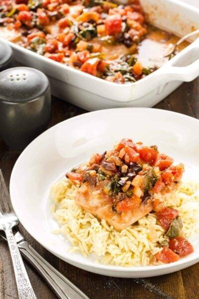 Baked Mahi Mahi with Tomatoes & Olives