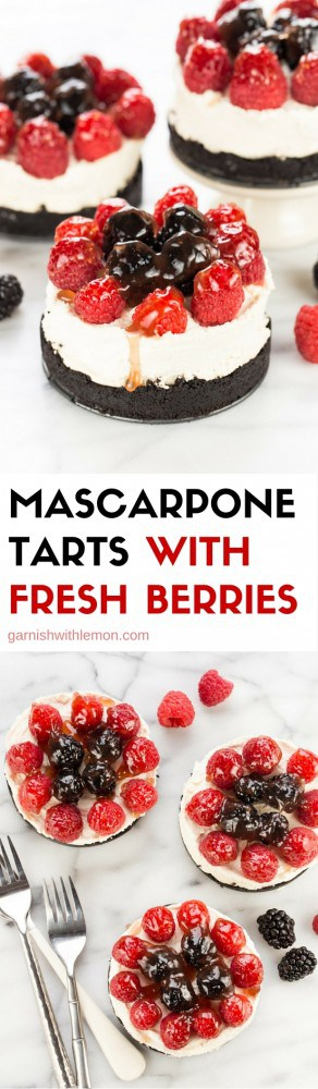 Mascarpone Tarts with Fresh Berries have a chocolate cookie crust and are a stunning dessert. They are perfect for entertaining. No one needs to know how easy they are!