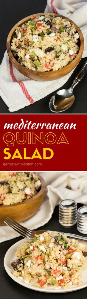 This make ahead Mediterranean Quinoa Salad is a tasty light lunch or perfect side dish. A family favorite recipe that is filled with protein!