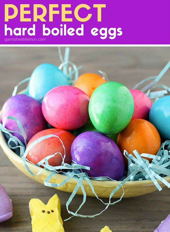 A bowl of colored eggs on a table.
