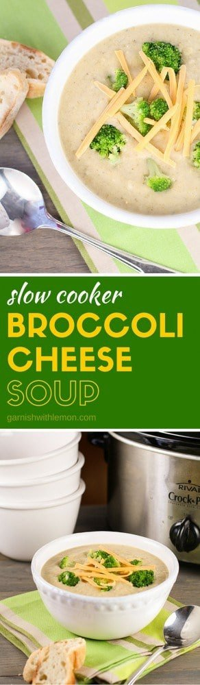 This Crock Pot Broccoli Cheese Soup is made in the slow cooker. You'll never use another recipe. Perfect winter comfort food that warms the soul.