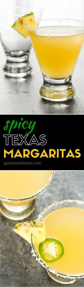 Nobody will mess with this Texas Margarita! Enjoy this twist on a traditional margarita with pineapple juice and a little spice from a jalapeno pepper!