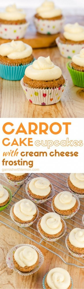 We took a classic recipe and made it into cupcakes! Carrot Cake Cupcakes with Cream Cheese Frosting are a crowd favorite and make a great addition to any dessert bar!