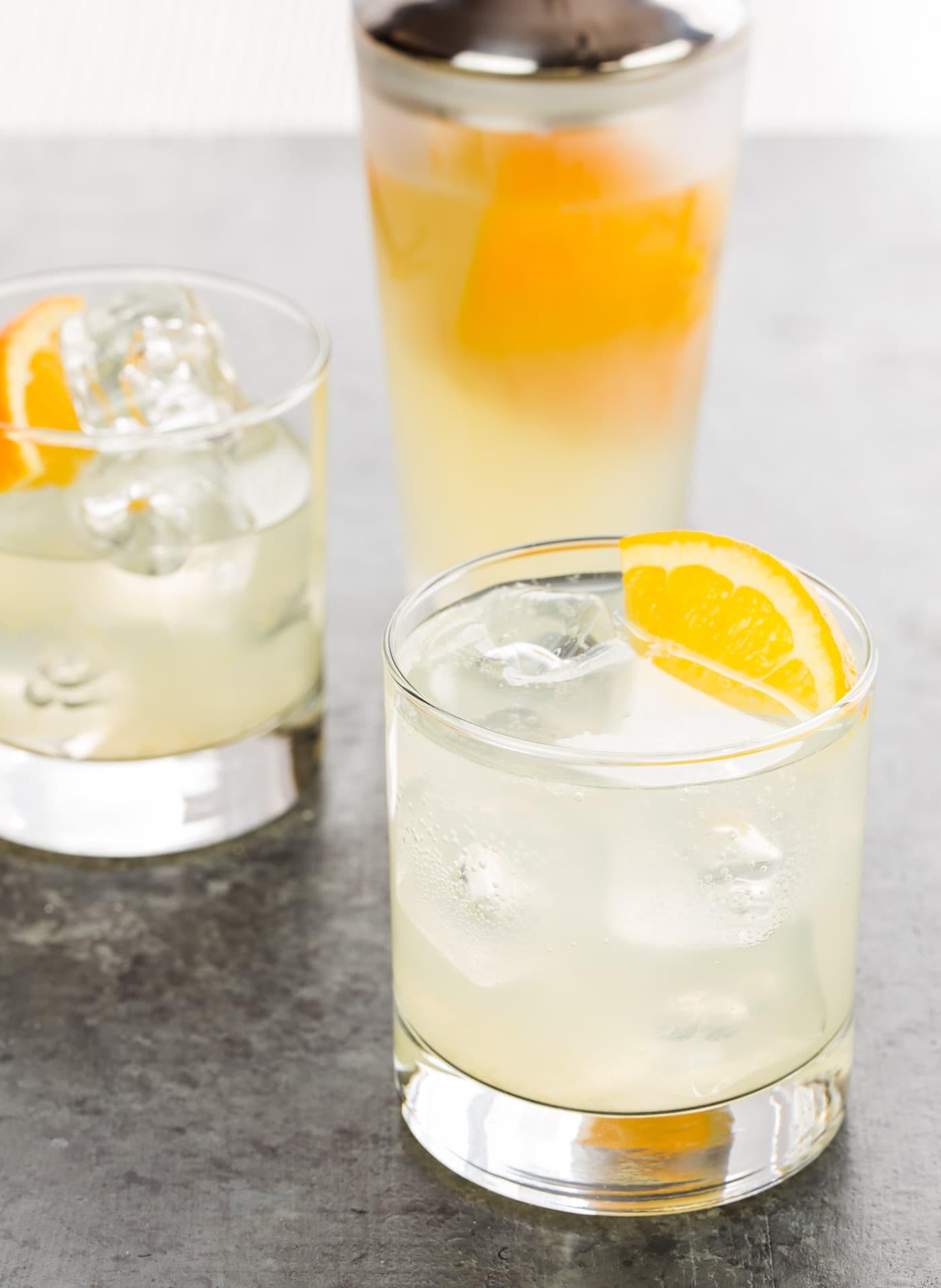 Citrus gin sodas garnish with lemon for Mixed drinks using gin
