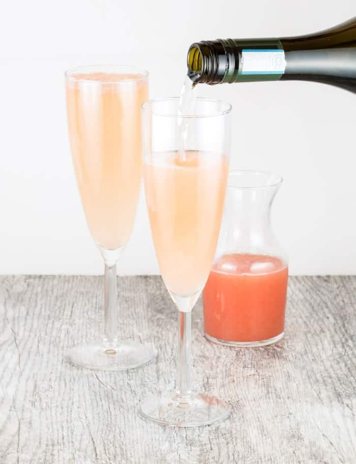 This Ginger Grapefruit Sparkler mixes bubbly prosecco with spicy ginger liqueur and tangy grapefruit juice - a perfect brunch cocktail!