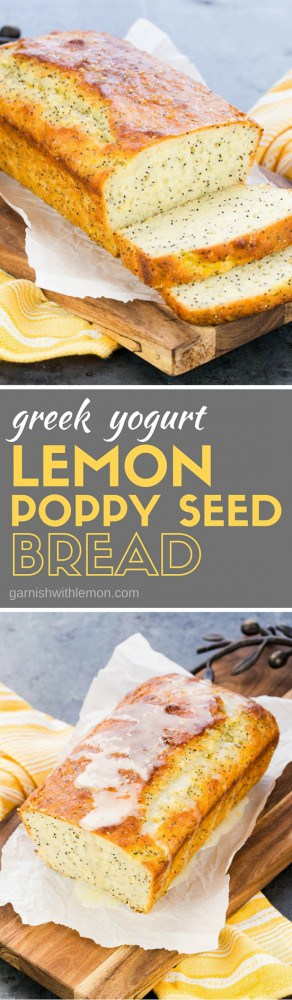 Bread with benefits? Yes, it's possible! This moist Greek Yogurt Lemon Poppy Seed Bread is made with protein-rich Greek yogurt and heart-healthy olive oil - and it still tastes amazing!