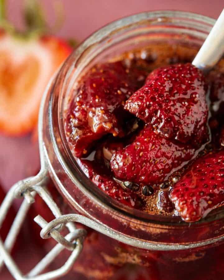 Balsamic Strawberry Sauce in a mason jar.
