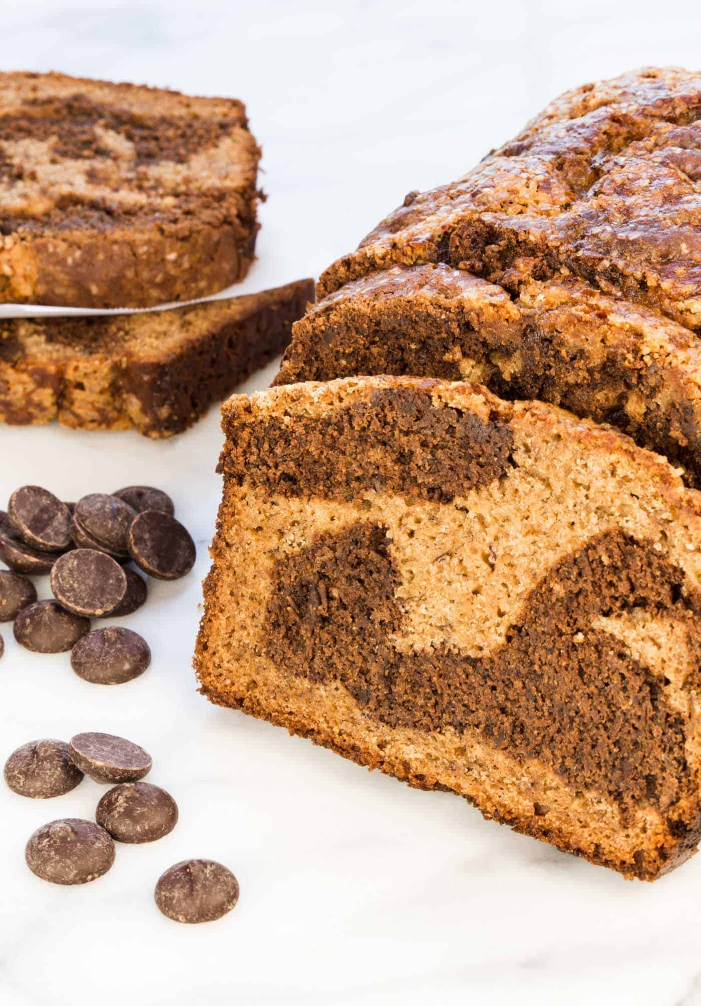... the swirls of chocolate in this Chocolate Marbled Banana Bread recipe