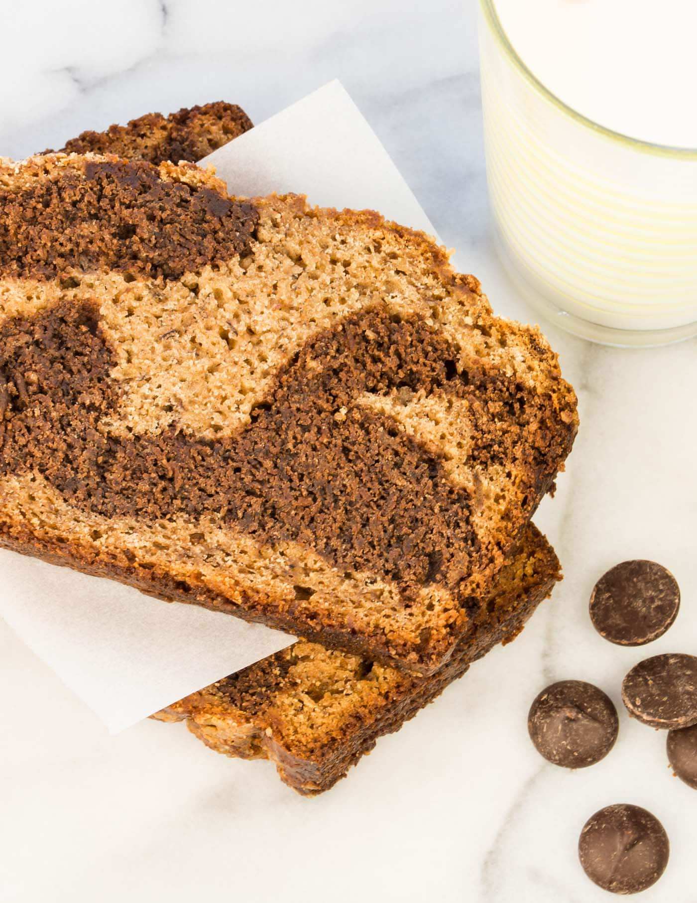 Got a comfort food craving? This recipe for Chocolate Marbled Banana Bread hits the mark! Don't forget to freeze an extra loaf for busy mornings!
