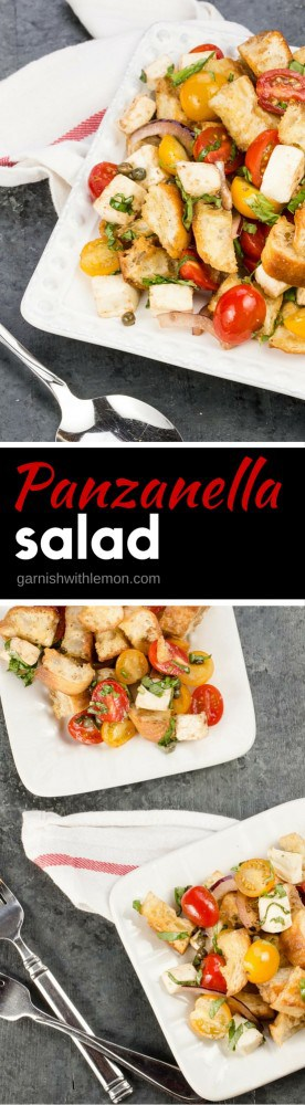 Need a side dish for a summer BBQ? Look no further than this crowd pleasing Italian Panzanella Salad. Bursting with juicy tomatoes, fresh mozzarella and fragrant basil, this is one salad everyone agrees on.