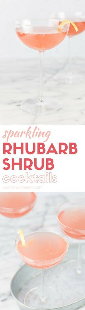 Calling all gin lovers! Give your favorite spirit a seasonal twist with this refreshing recipe for Sparkling Rhubarb Shrub Cocktails - an ideal spring cocktail!