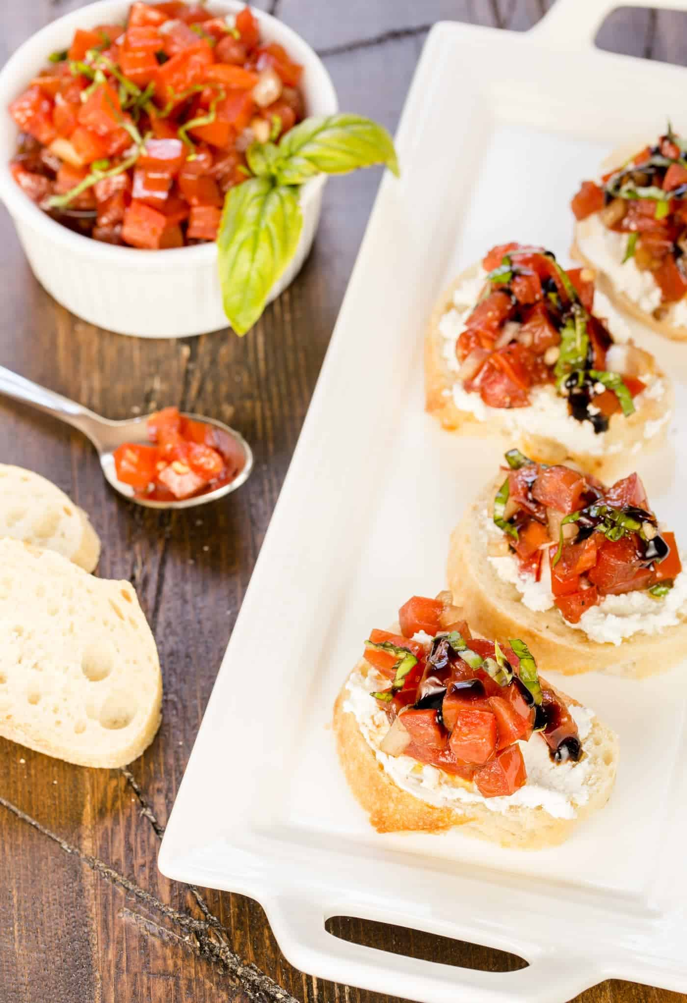 Summer appetizers don't get much easier or more delicious than this quick and easy Balsamic Bruschetta!