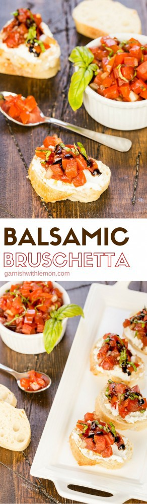 This Balsamic Bruschetta recipe is filled with flavors from the garden and gets kicked up a notch with the addition of balsamic vinegar. Don't use this just for appetizers, it makes a great topping for grilled chicken breasts too!