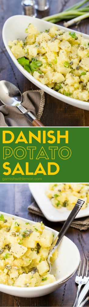 This Danish Potato Salad is filled with green onions, capers, parsley and finished with a light tangy olive oil dressing! It goes with everything at a picnic and is my family's favorite summer salad!