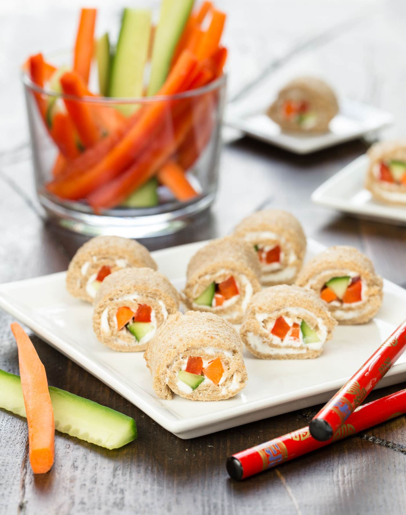 These Veggie Sushi Rolls are a simple, easy snack for kids. Swap in their favorite veggies or use hummus instead of cream cheese. Check out the rest of our Smart Summer Snacks for Kids!