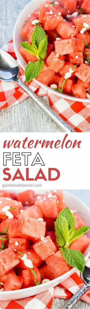 Add some variety to your summer BBQ menu! This sweet and savory Watermelon Feta Salad recipe is one of our favorite easy summer side dishes.