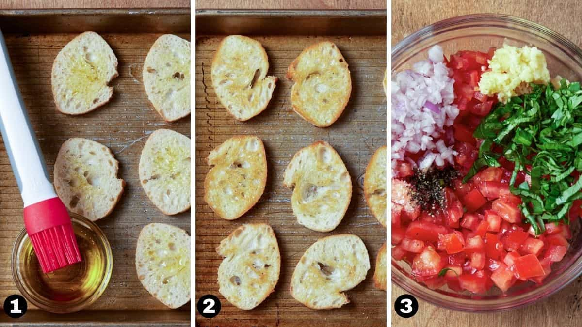 Sheet pan with crostini and bowl filled with bruschetta ingredients.