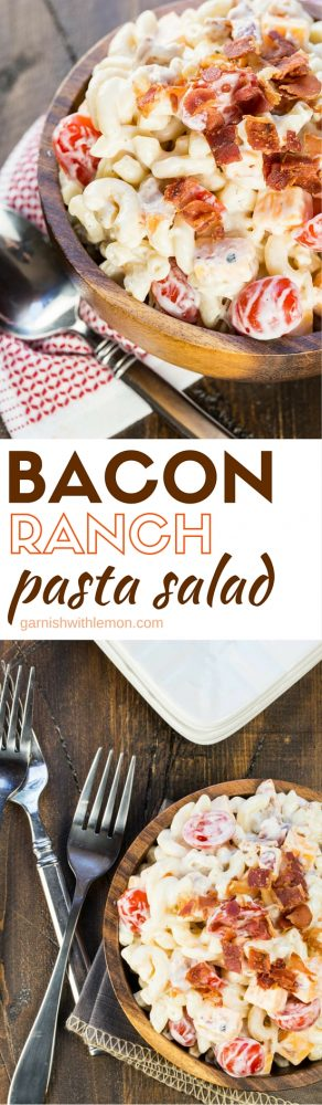 It's easy to see why everyone loves this Bacon Ranch Pasta Salad recipe! It's a great make ahead salad that feeds a crowd! Who can say no to bacon?