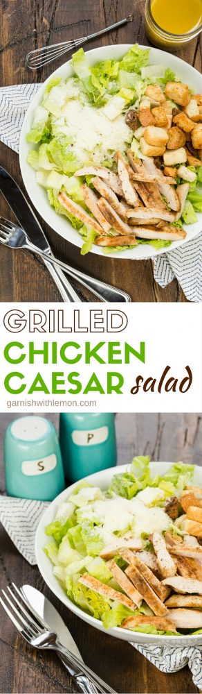 This Grilled Chicken Caesar Salad is ready to go in 30 minutes. The homemade dressing is light and full of flavor and made with staples from the pantry!