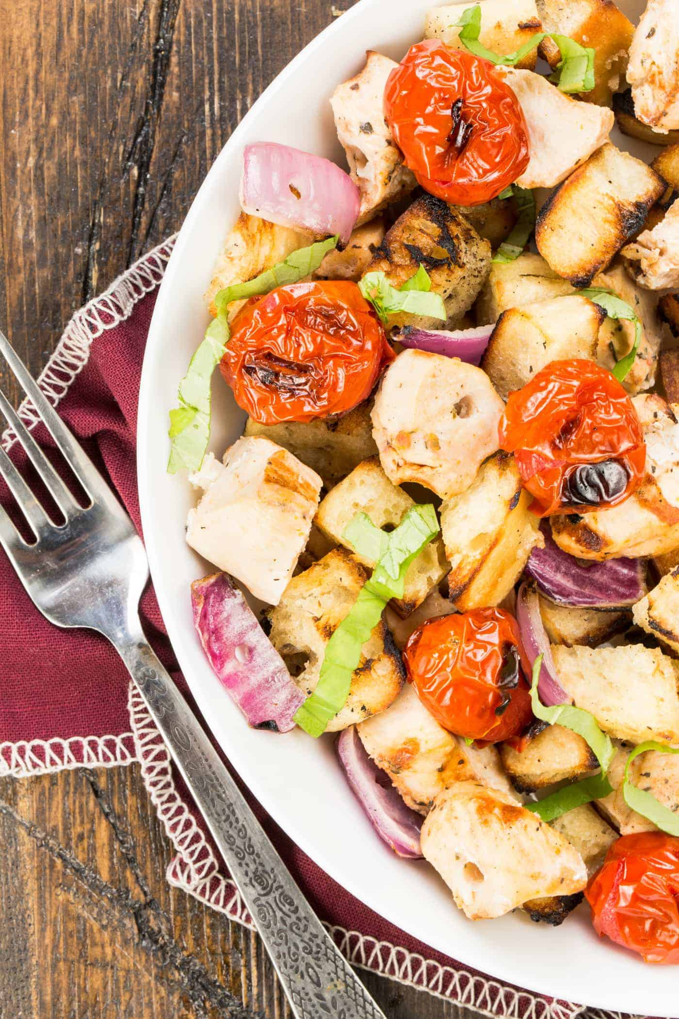 This 7 ingredient Grilled Italian Bread Salad with Tomato Basil Chicken recipe can be on the table in roughly 30 minutes - perfect for busy weeknights!