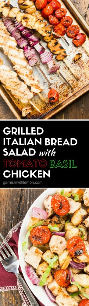 This protein-rich Grilled Italian Bread Salad with Tomato Basil Chicken is basically a shortcut Panzanella made on the grill. A quick and easy summer dinner!