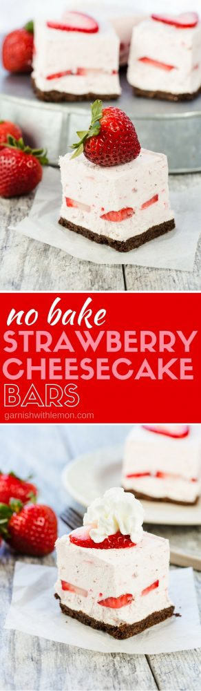 Slices of no bake strawberry cheesecake bars with fresh strawberries on plates.