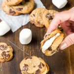 Need a fun dessert for your potluck BBQ? Try these rich, gooey S'mores Cookie Sandwiches with Roasted Marshmallows!