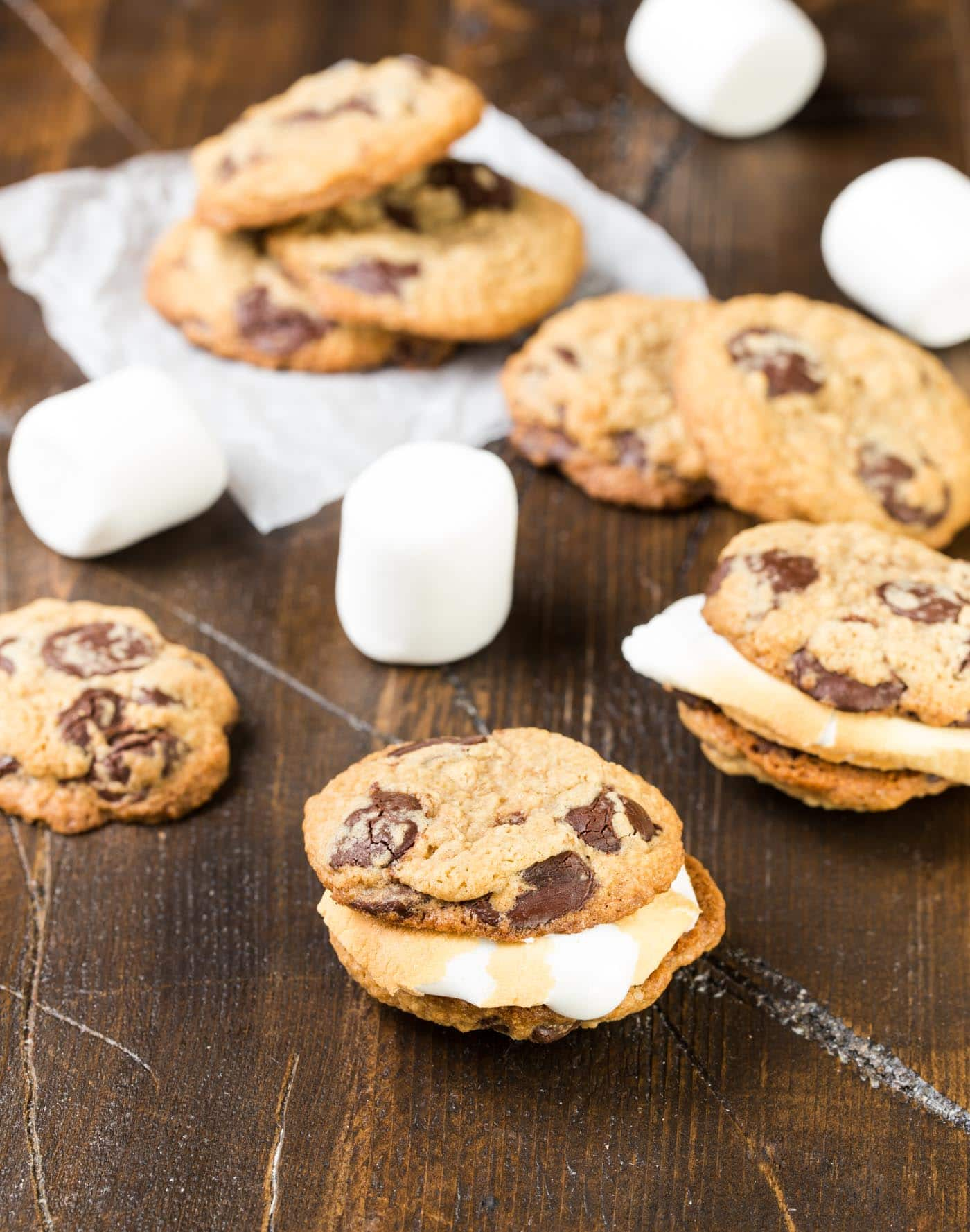 These gooey S'mores Cookie Sandwiches with Roasted Marshmallows are a fun new twist on a classic summer treat. Add these cookies to your BBQ menu today!