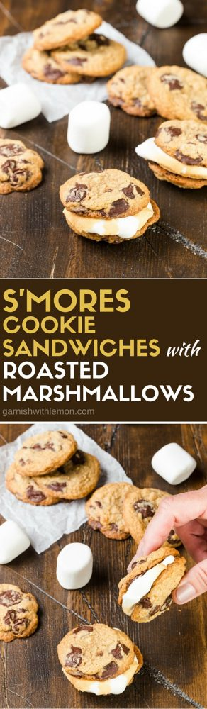 Packed with graham crackers and extra large chocolate chunks, these gooey S'mores Cookie Sandwiches with Roasted Marshmallows are the perfect sweet ending to your BBQ or potluck.