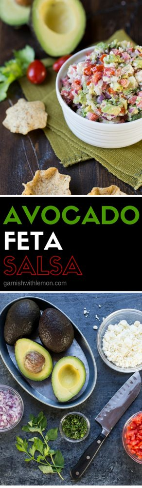 This Avocado Feta Salsa recipe is the most requested one from my kitchen! Filled with tomatoes, avocado, feta and fresh herbs, it's guaranteed to disappear!