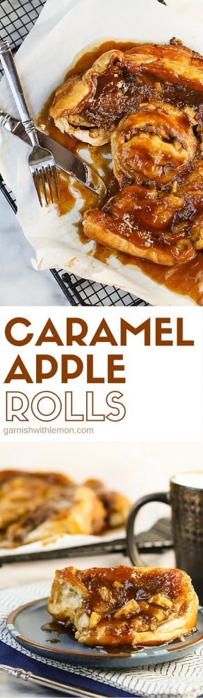 Can you believe how ooey and gooey these Caramel Apple rolls are? These easy caramel rolls are made with frozen bread dough and filled with apples, caramel and cinnamon in every bite!