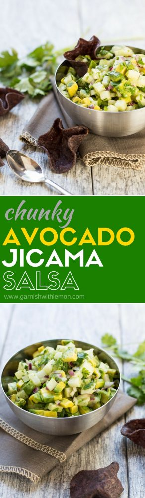 Shake up your salsa routine with this crunchy and refreshing Chunky Avocado Jicama Salsa recipe!