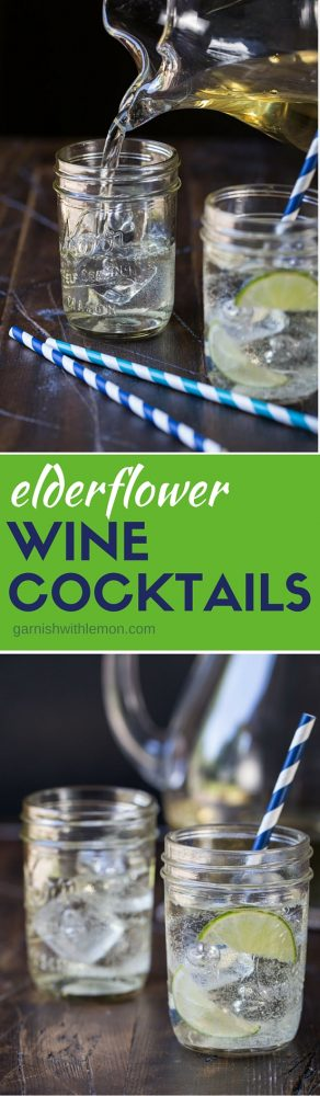 Wine can be used for cocktails too! Light and refreshing, Elderflower Wine Cocktails are what your next happy hour needs. Summer sipping at its finest and a great batch cocktail for a group!