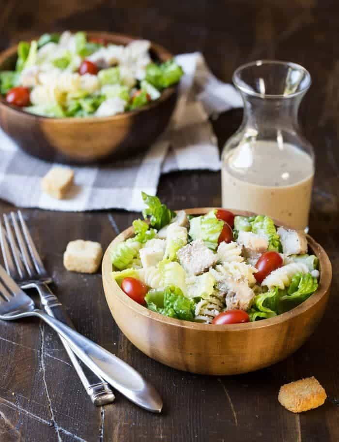 All of our favorites are combined into one satisfying meal in this Grilled Chicken Caesar Pasta Salad recipe!