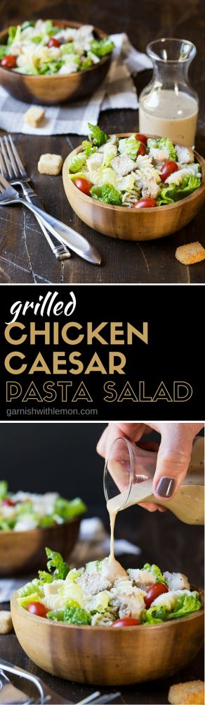 Can't decide between pasta and a salad? Have both with this delicious Grilled Chicken Caesar Pasta Salad!